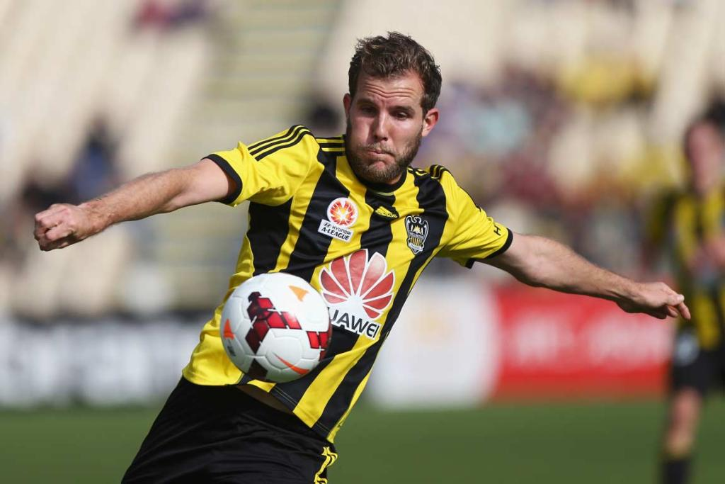 Jeremy Brockie plays the ball on a side-foot volley.