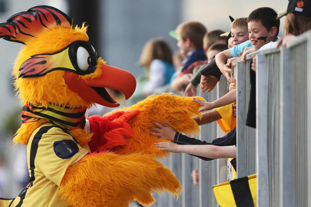 The Wellington Phoenix interacts with young fans in Christchurch.