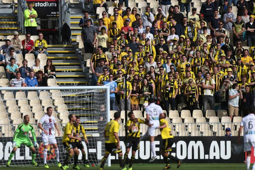 Wellington Phoenix fans watch on as the Perth Glory attack.