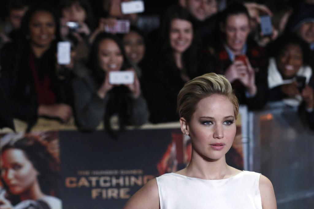 Actress Jennifer Lawrence arrives for the world premiere of The Hunger Games: Catching Fire in London.