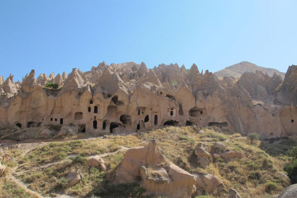 Many of the early Christians fled to Turkey in the first and second centuries and lived in the caves in the Cappadocia region. Here, an early monastery built into the rock at the Zelve Open Air Museum in Zelve, Turkey.