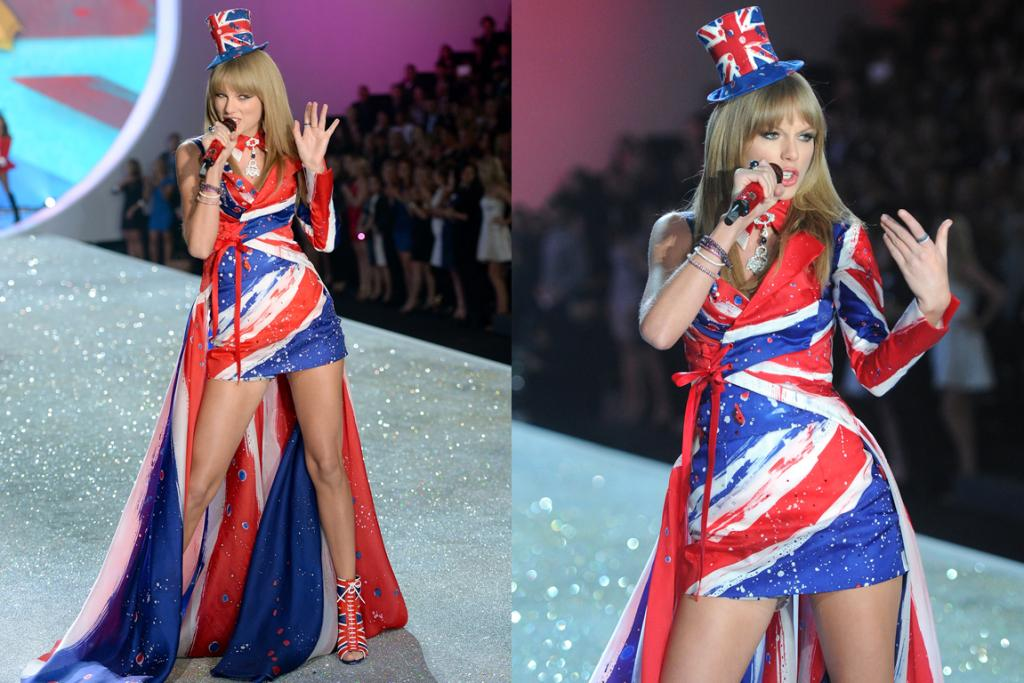 THE PERFORMANCE: Surely even Taylor Swift herself has an issue with this paint-splattered, Great Brittania-inspired atrocity. That jauntily perched hat is creeping me out.