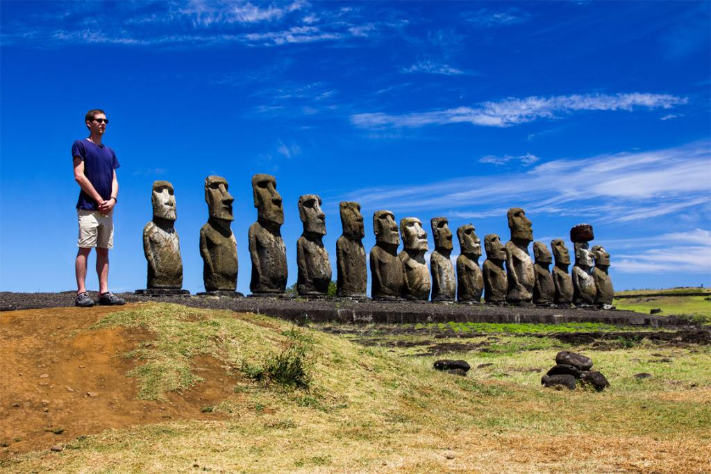 """Our guide (Patricio) on a tour around the harder to reach parts of Easter Island called this the """"classic Japanese trick photo location on the Island."""" A Japanese woman had shown him the exact spot from where to take it many years ago, and he offered to take snaps for the three of us on the tour."""