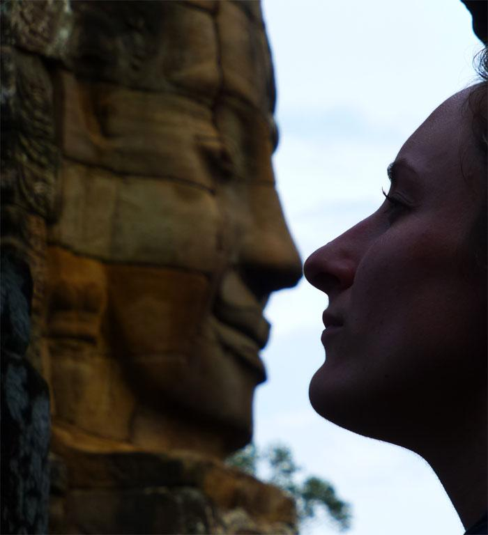 Getting up close and personal with the faces at Bayon Temple, Siem Reap, Cambodia.