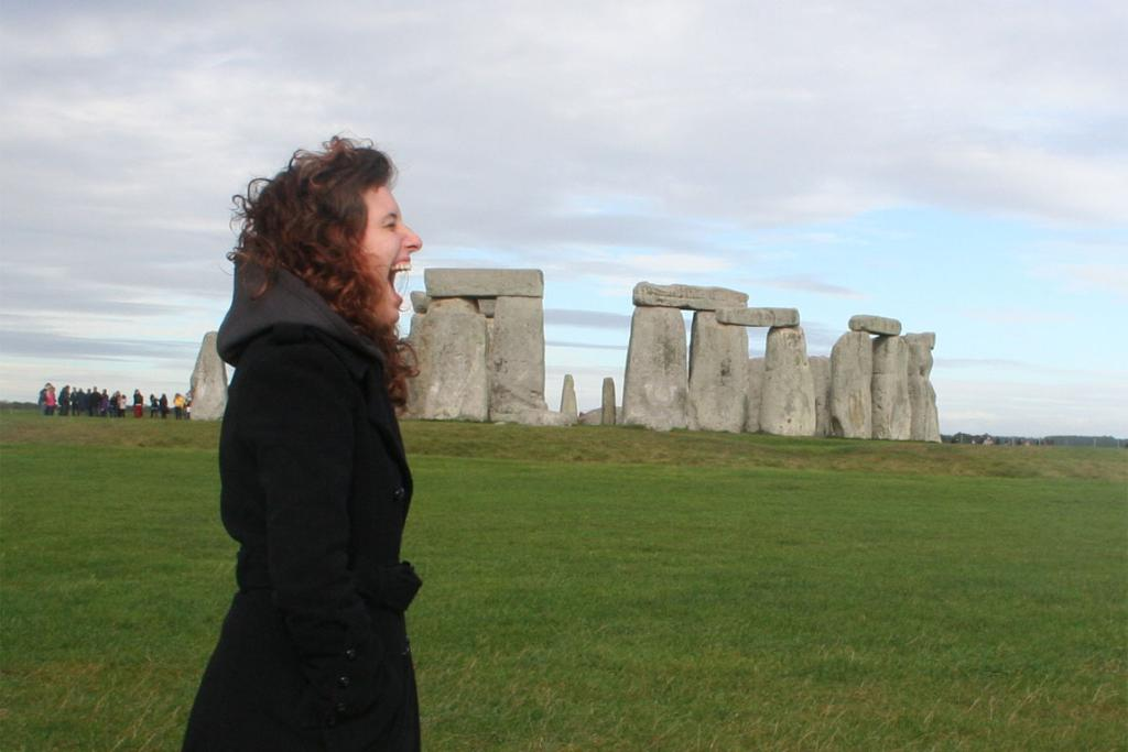 Taking a bite out of Stonehenge! I can't remember who took the photo - I was with a tour group!