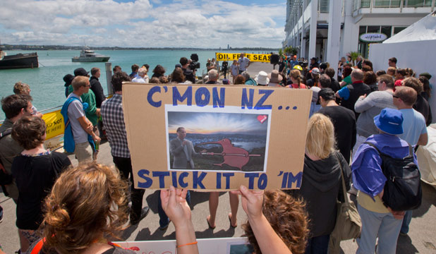 Fleet support: Protestors farewell yachts setting sail from Auckland to a drilling site about 160 kilometres off the coast of Raglan.