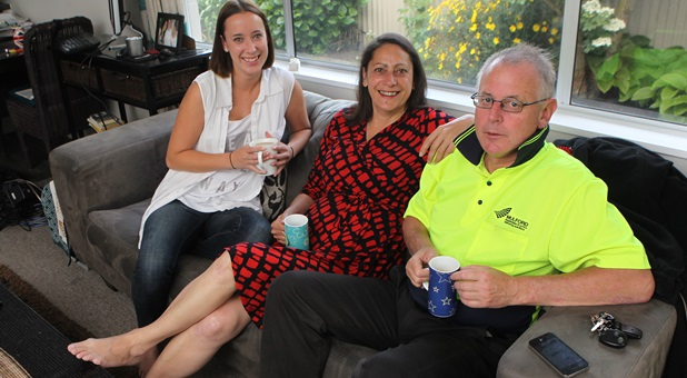 Labour's candidate in Christchurch East , Poto Williams, centre, with her daughter, Tearai, and partner, Ken.