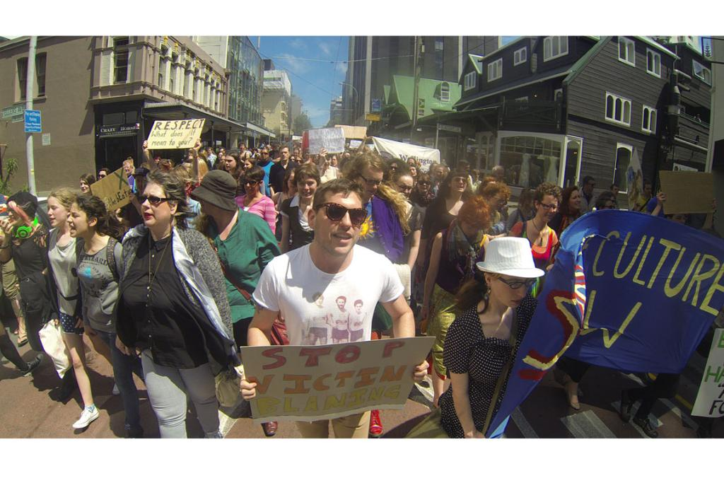 """Crowds marched through central Wellington for what they called a """"national day of action against rape culture""""."""