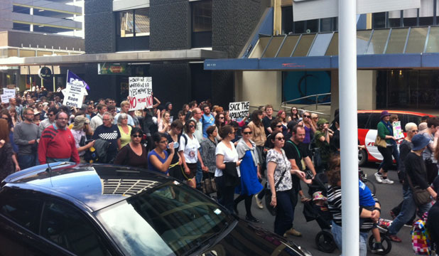 ANGER: Protesters moving down Wellington's Victoria St during nationwide marches.