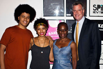 ONE HAPPY FAMILY: Dante, Chiara, Chirlane McCray and Bill de Blasio at an event in August.