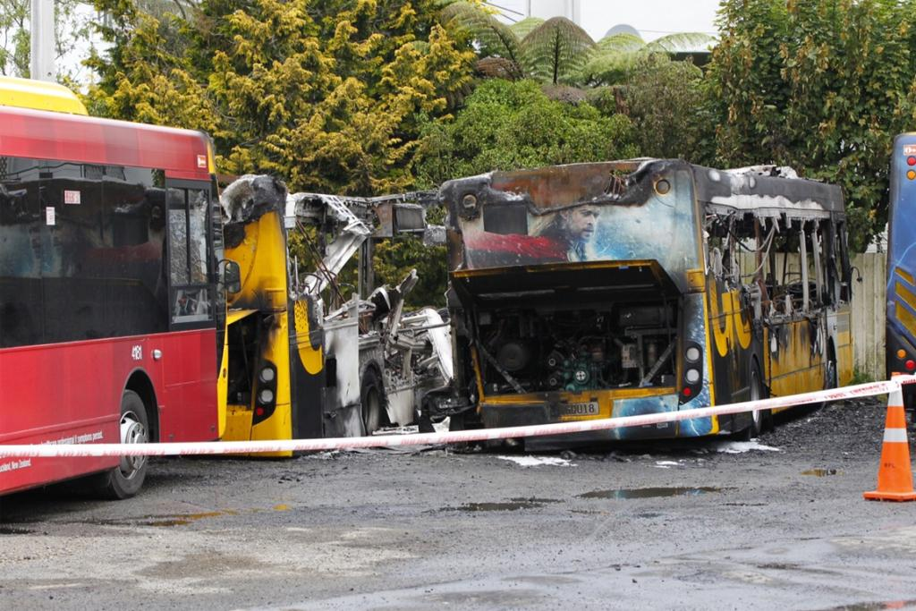 The destroyed remains of the Go Wellington buses at the Karori depot.