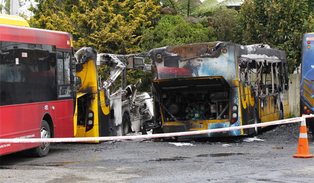 DESTROYED: The five buses at Wellington's Karori depot were destroyed in the fire.