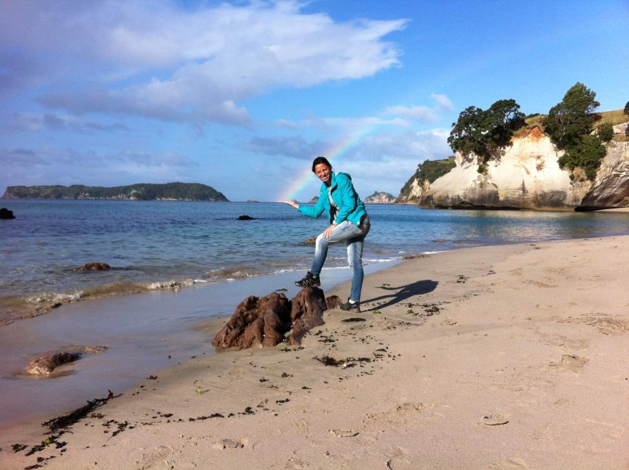 Rocio the rainbow girl in Cathedral Cove