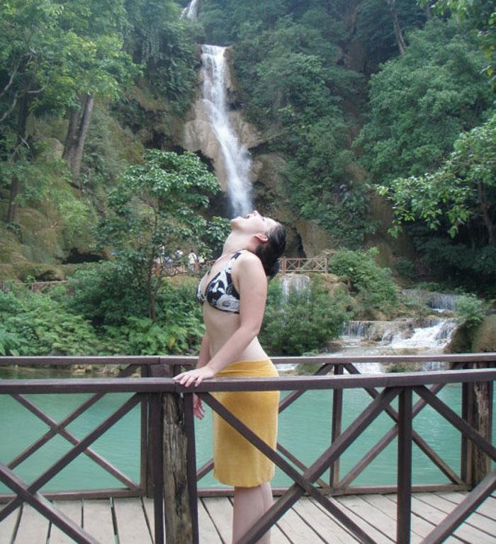 Travel is thirsty work! Photo taken in near Luang Prabang, Laos at the Kuang Si Falls in July 2010 by Chelsea Blair.