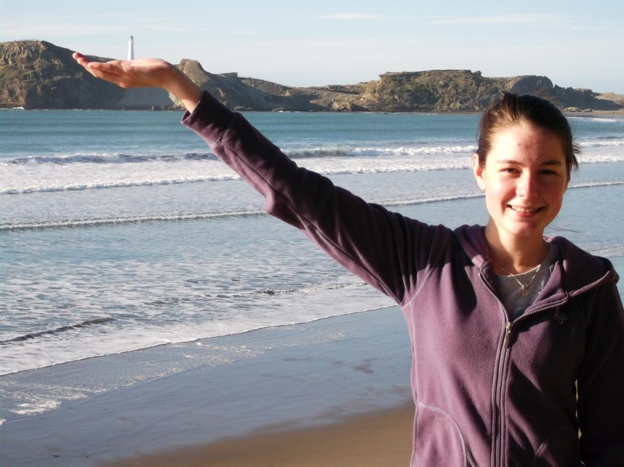This is my daughter, Helena, with Castlepoint, Wairarapa, in her hand.