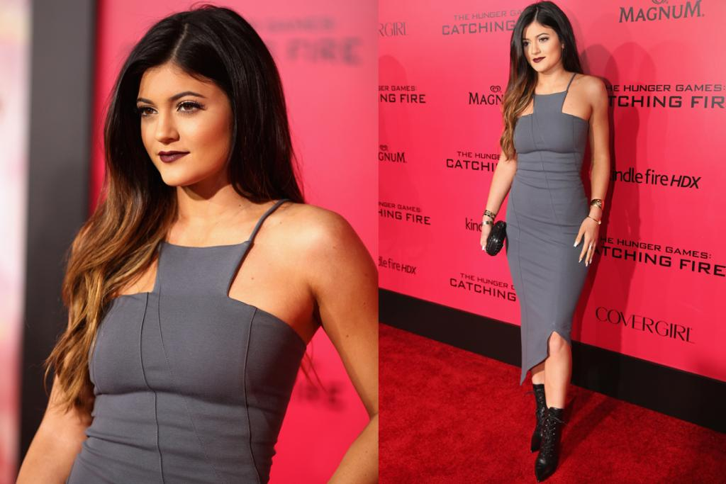 KYLIE JENNER: She may be the youngest member of the Kardash' clan, but she's by no means behind in the style stakes. I'm loving this structural grey dress paired with ombre locks and vampy lipstick, and the lace-up boots give it just the right amount of edge.