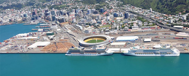 Wellington aerial view, Westpac Stadium
