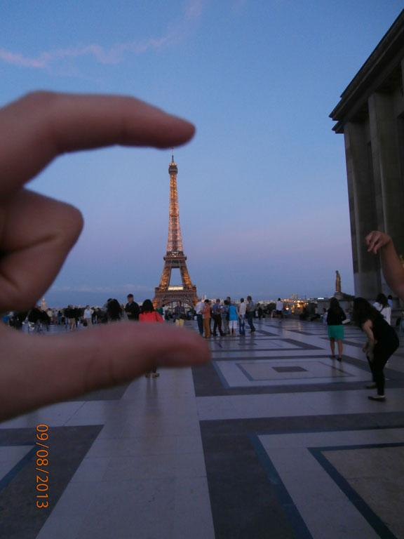 A smaller than usual Eiffel Tower.
