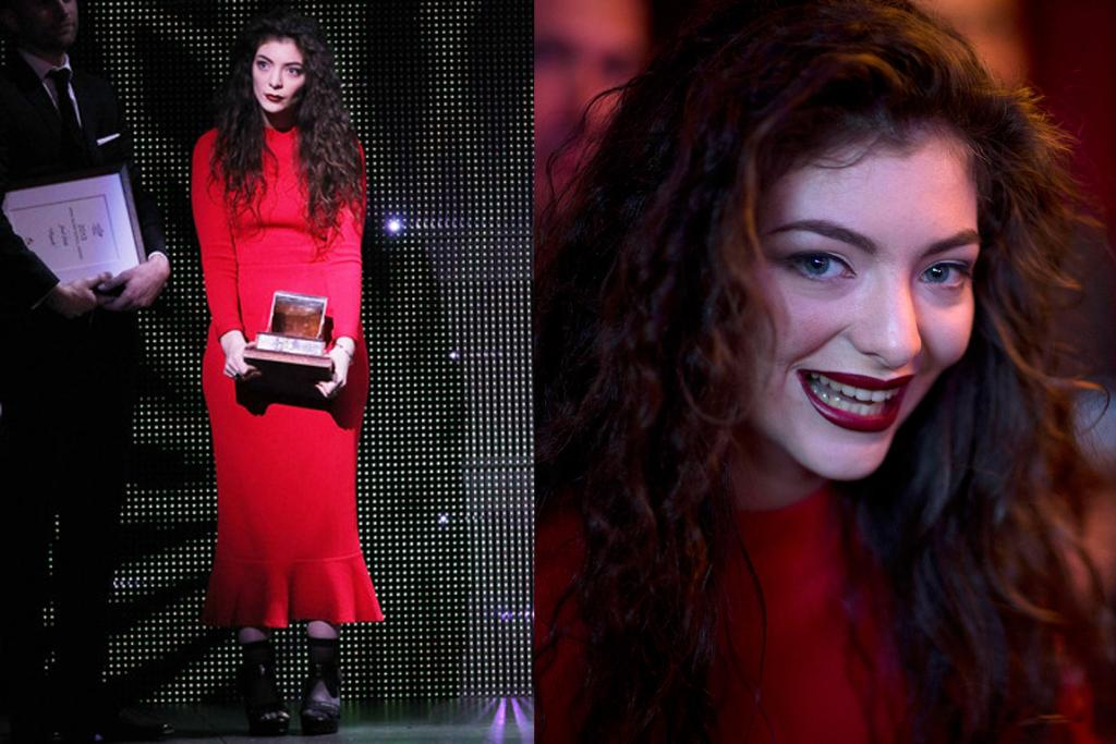 Lorde looked striking in a vibrant red midi-dress at the 2013 Silver Scrolls Awards.