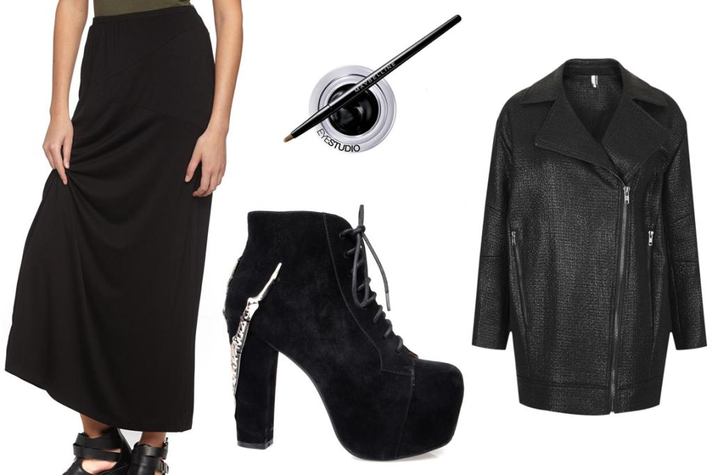 GET THE LOOK: CottonOn Maxi Skirt $29.95, Jeffrey Campbell Lita Claw Boots $249.99, Maybelline Eye Studio Gel Liner $22.99 and Topshop Textured Slouchy Jacket $168.
