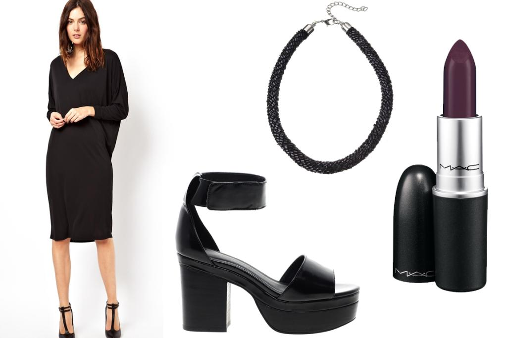GET THE LOOK: Asos V-Neck Midi Dress $75.32, Asos Halfpenny Heeled Sandals $96.84, Diva Black Bead Short Necklace $19.99 and M.A.C Lipstick in Cyber $40.