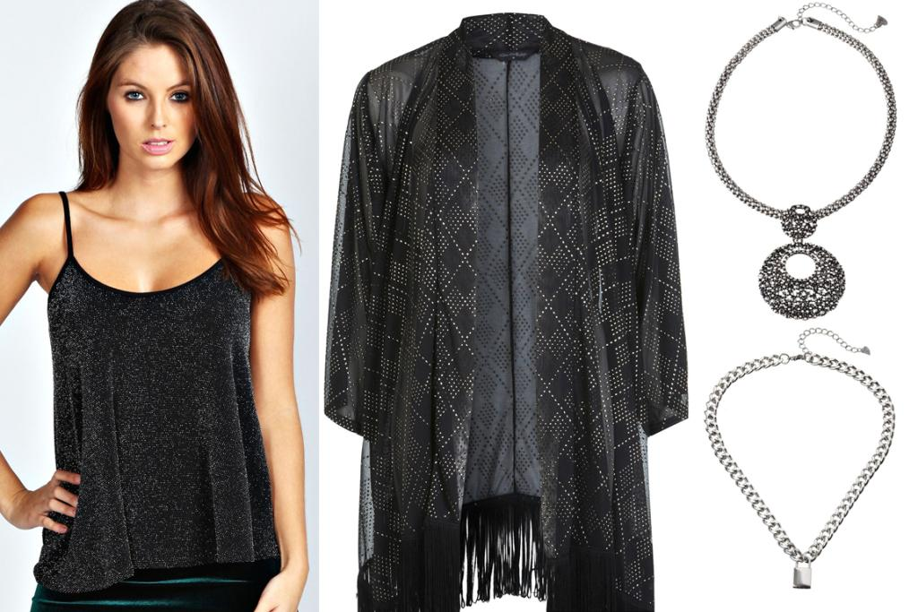 GET THE LOOK: Boohoo Strappy Lurex Cami $30, Miss Selfridge Black Studded Kimono $80, Diva Round Pendant Necklace $24.99 and Diva Silver Curb Chain with Lock $14.99.