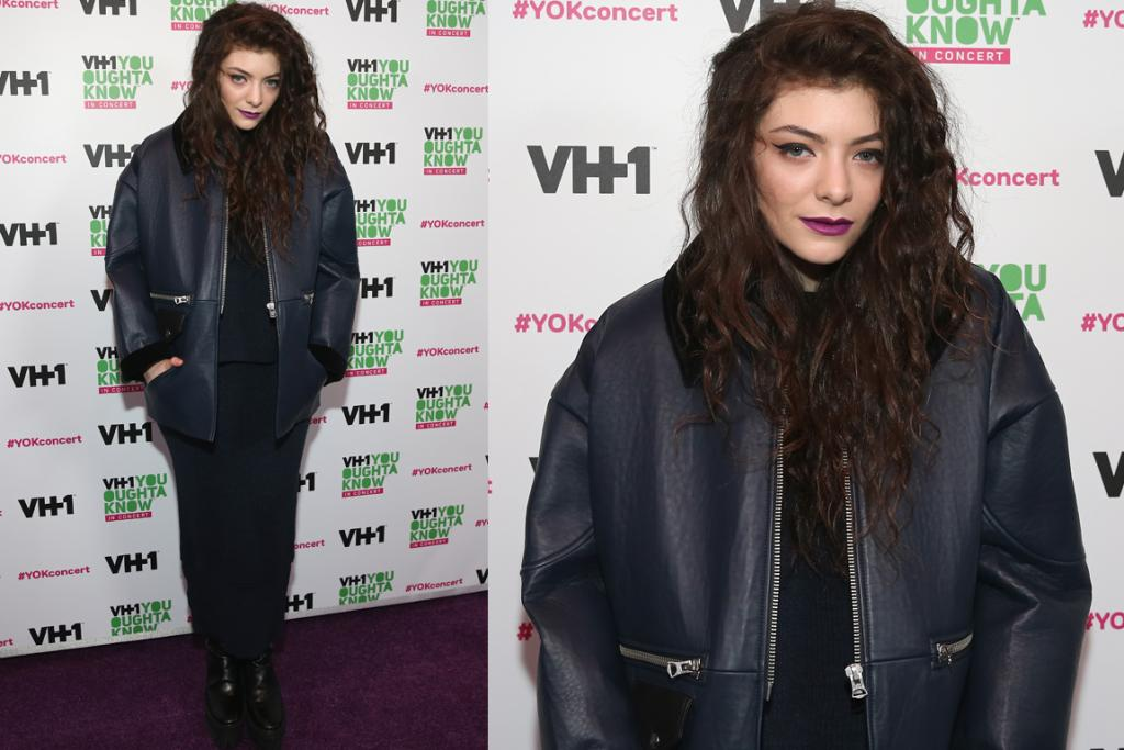 It's not easy to look snug while remaining stylish, but Lorde nails it in this fab oversized leather and shearling jacket.