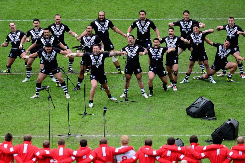The Kiwis perform the haka ahead of their semifinal against England.