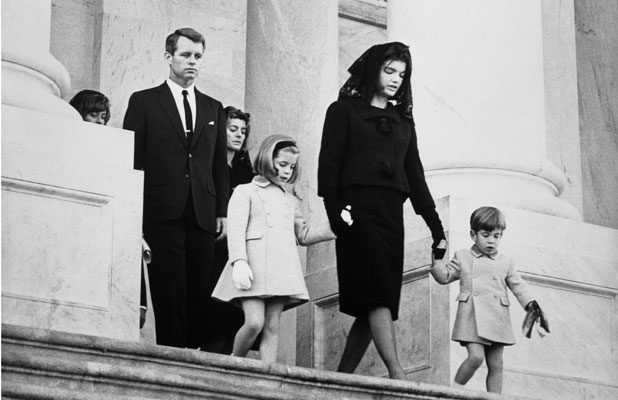 Family departs funeral ceremony for President John F Kennedy.