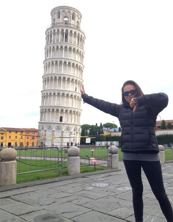 In Pisa a week ago and a thumbs down to my friend Natasha Eccles, who forced me to take this picture.