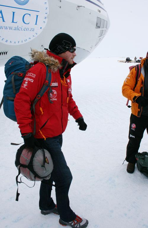 Prince Harry arrives in Novo, Antarctica, for the charity trek.