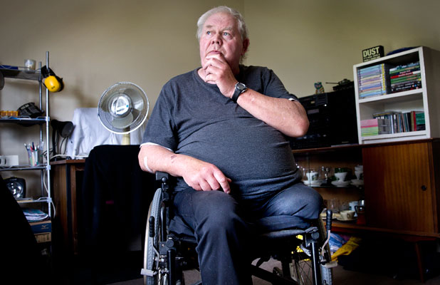 UNFRIENDLY WELCOME: New Palmerston North resident Peter Blake was astounded to have his bag snatched off his wheelchair.