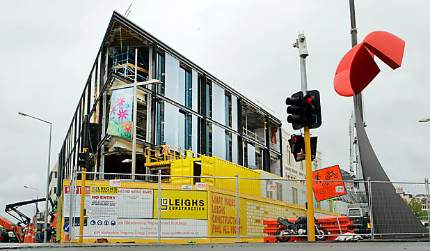 NEARING COMPLETION: The striking High St building will become a landmark.