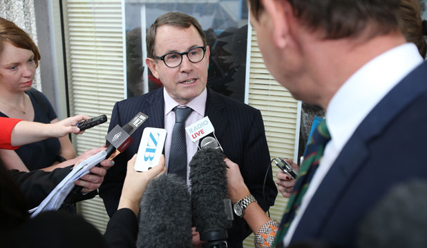 COURT DATE: John Banks speaking outside the High Court in Auckland.