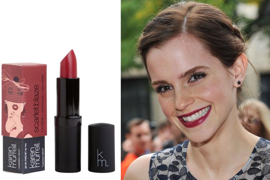 KAREN MURRELL SCARLETT BLAZE, $29.95: This deep plum red is incredibly light wearing for such a racy colour and is a lighter, slightly more summery version of the deep Lorde-style colours we've been wearing throughout winter. We also love how Karen Murrell's lippies don't feather, so you needn't even use a lip liner with them (so long as you're happy to reapply throughout the day).