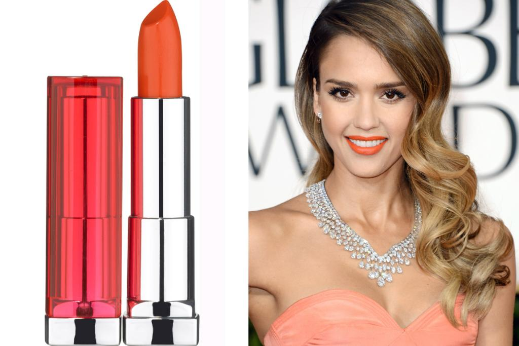MAYBELLINE COLOUR SENSATIONAL VIVIDS LIPSTICK IN ELECTRIC ORANGE, $20.99: Step out of your comfort zone and try an orange lip - they're so hot right now. This highly-pigmented option from Maybelline is a particularly wearable one as it's more light red with an orange hint (a la Jessica Alba at the Golden Globes) than it is high-vis vest.