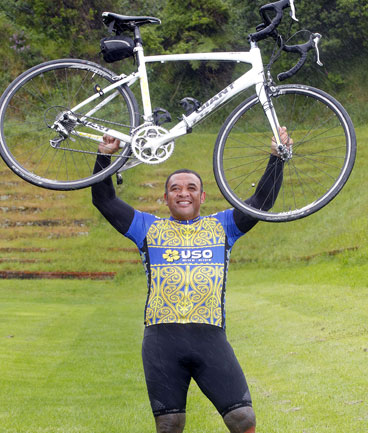 STANDING TALL: Ollie Seumanufagai has shed 17 kilograms since April and is preparing to ride the Lake Taupo Cycle Challenge.