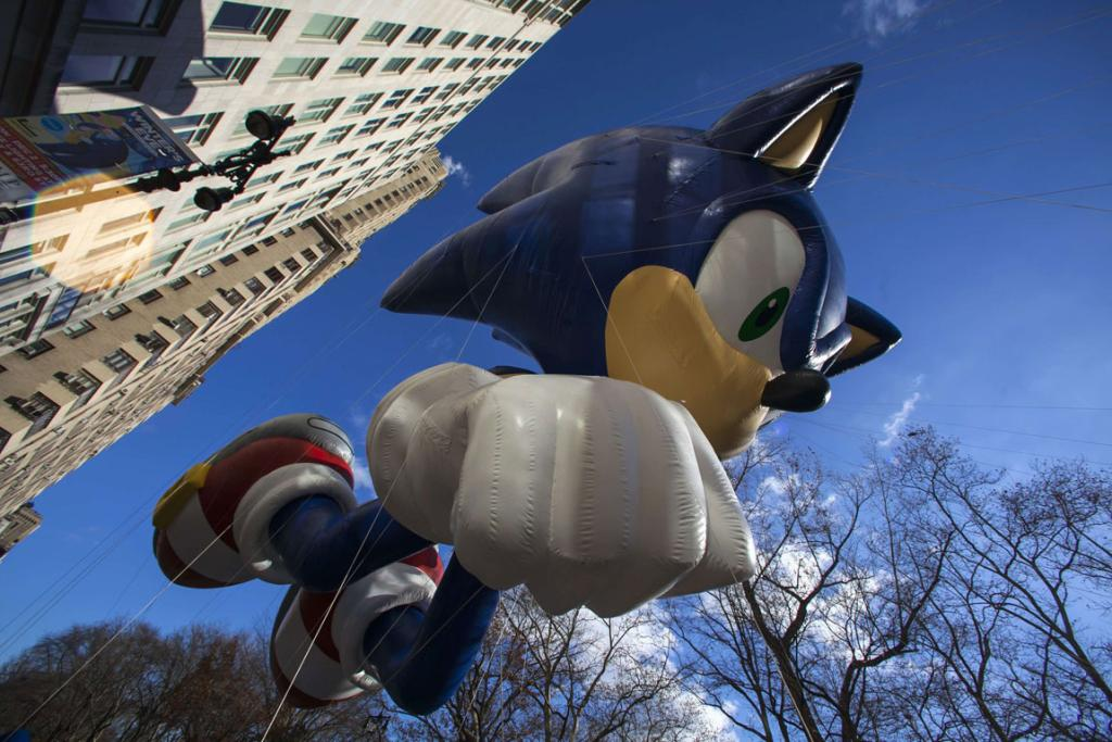 A Sonic the Hedgehog balloon floats down Sixth Avenue during the 87th Macy's Thanksgiving Day Parade in New York.