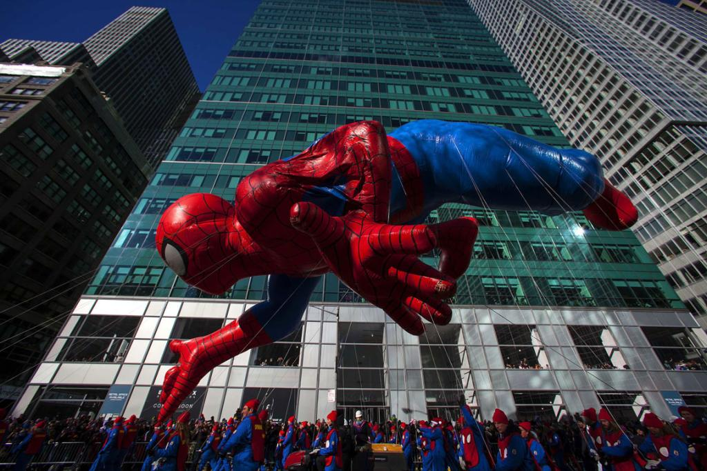 A Spiderman balloon floats down Sixth Avenue during the 87th Macy's Thanksgiving Day Parade in New York.