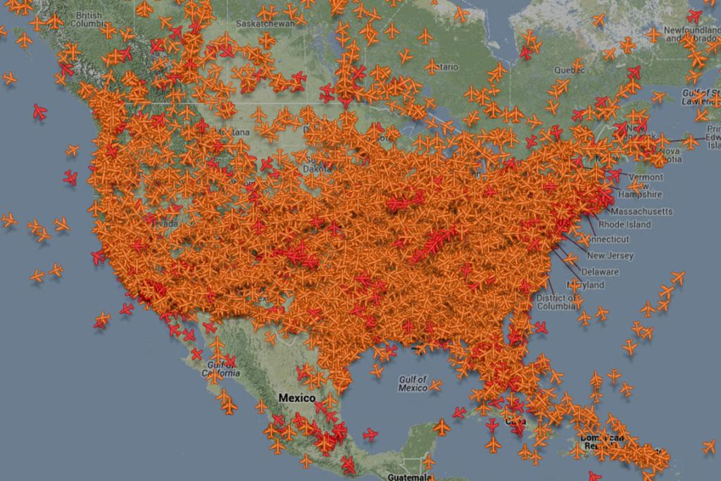 Commercial flights over the United States the night before Thanksgiving.