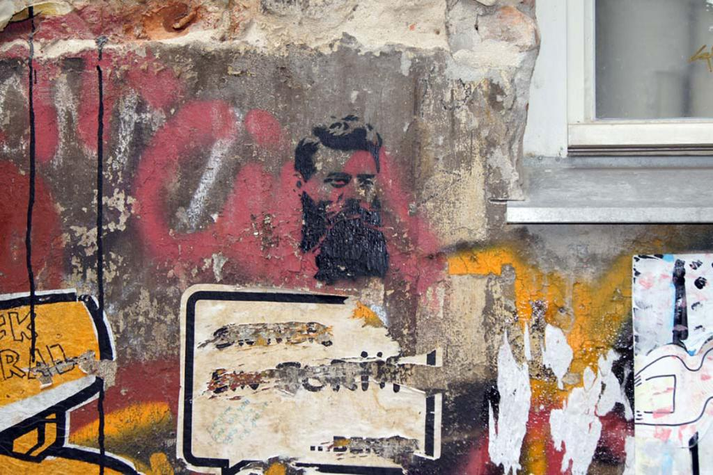 A familiar face for Australians features on a laneway wall in Berlin.
