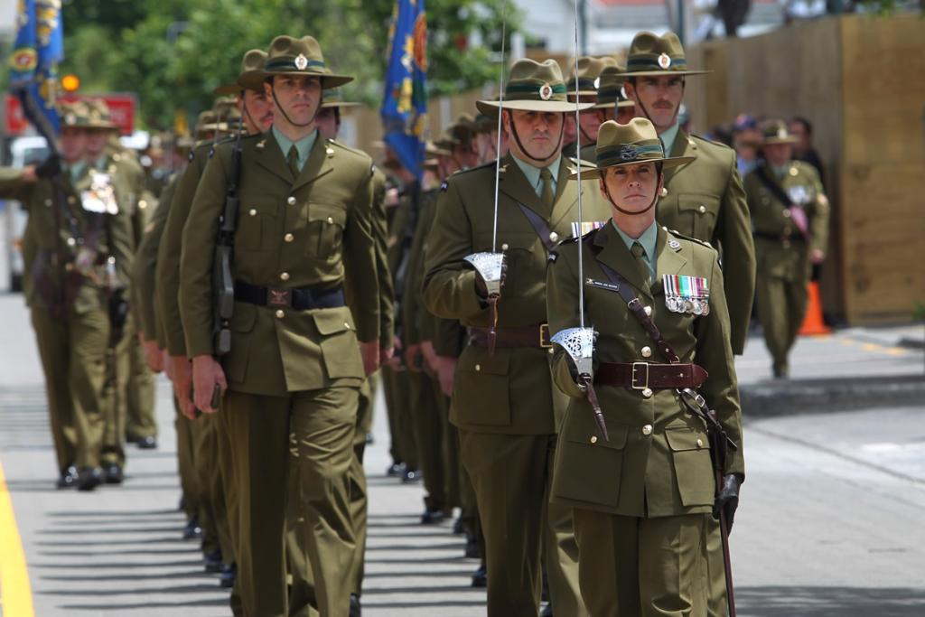 Lt Colonel Amanda Jane Brosnan accepted command of the battalion at the parade and led the march to Latimer Square.