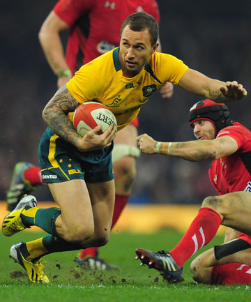 INSPIRING PERFORMANCE: Quade Cooper evades the Wales defence.