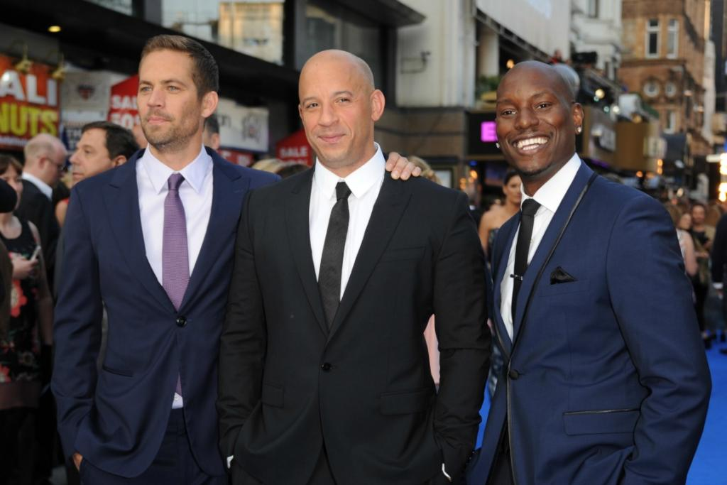 Actors Paul Walker, Vin Diesel and Tyrese Gibson