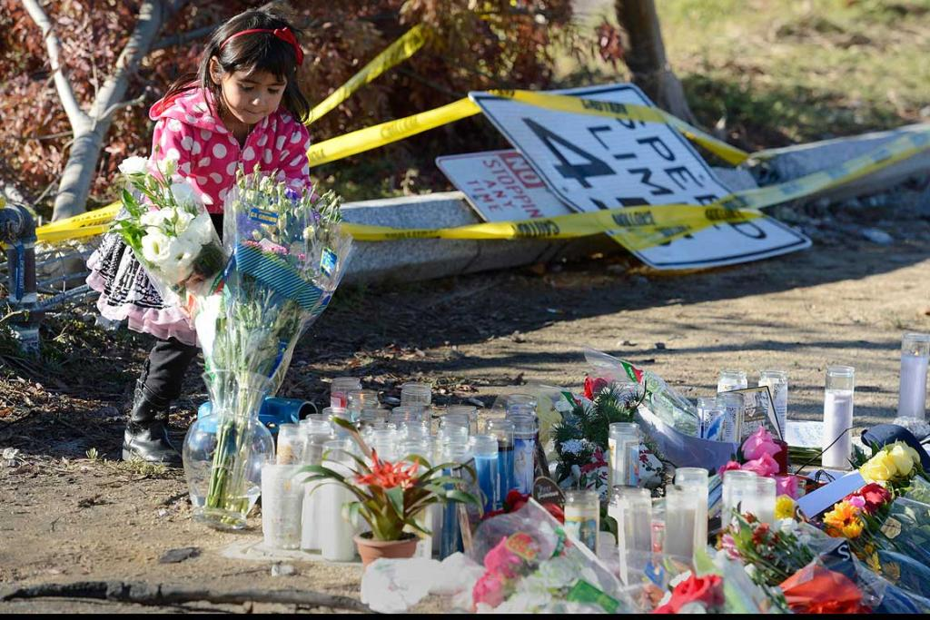 A girl places flowers at the scene of the car crash where actor Paul Walker was killed in the Santa Clarita area of Los Angeles.