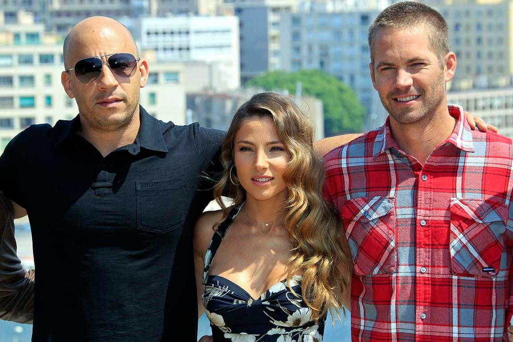 Paul Walker (right) with co-stars Vin Diesel and Elsa Pataky at the premiere of the film Fast and Furious 5.