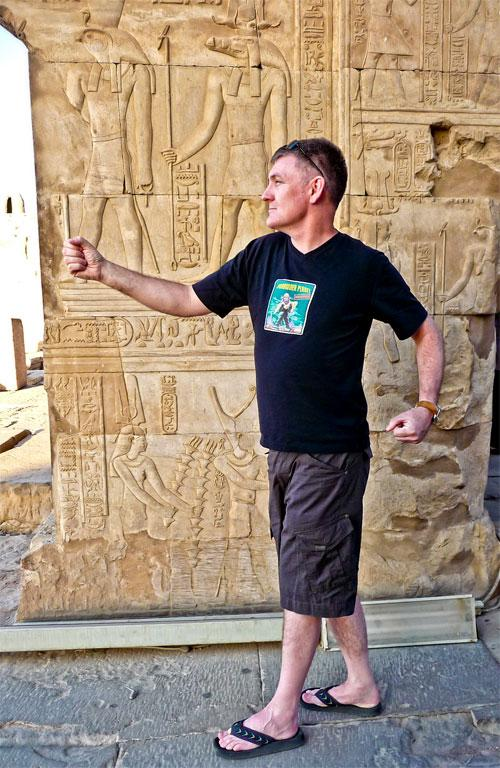 In Egypt, walk like… Photo of Brenton Hodgson, taken in a temple by the Nile in 2010.