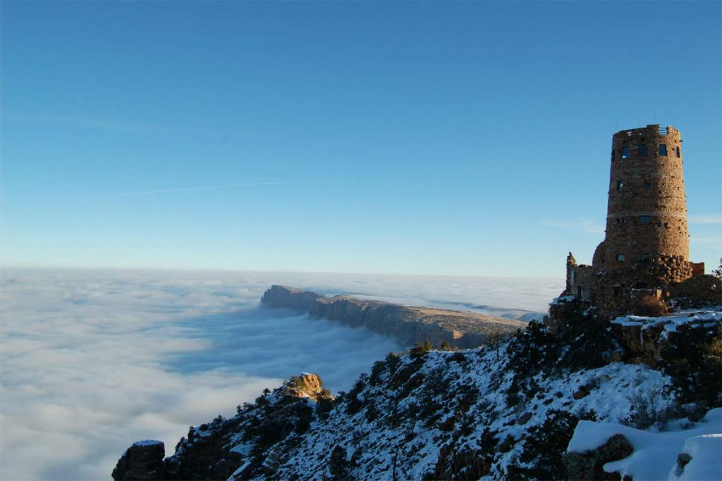 The Grand Canyon buried in fog.