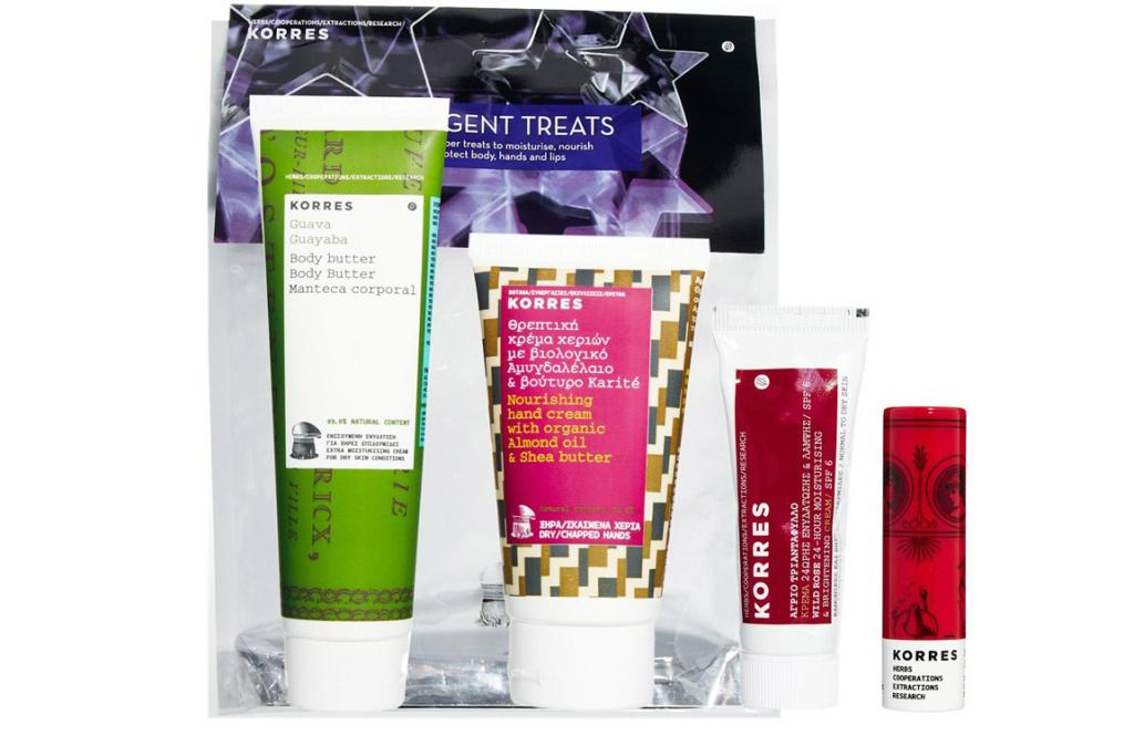 """KORRES INDULGENT TREATS SET, $40.41 (at 54 per cent off): All-natural Greek brand Korres is one of our all-time faves, and this awesome pack has a mandarin lip butter, a guava body butter, a nourishing hand cream and - the best bit - the famous Wild Rose moisturising cream (probably the best moisturiser we've ever used).  <a href=""""http://www.asos.com/Korres/Korres-Indulgent-Treats-Set-SAVE-54/Prod/pgeproduct.aspx?iid=3463270&cid=16095&sh=0&pge=13&pgesize=36&sort=-1&clr=Indulgent"""" target=""""_blank"""">Available at Asos.</a>"""