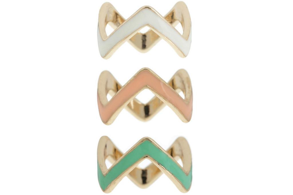 """THE ICONIC ZIG ZAG RINGS, $15: These fun stacking rings can be worn separately across two hands or can be stacked all on one finger - they're fun, fashionable and super-affordable.  <a href=""""http://www.theiconic.com.au/3PK-Zig-Zag-Rings-130852.html"""" target=""""_blank"""">Available at The Iconic.</a>"""